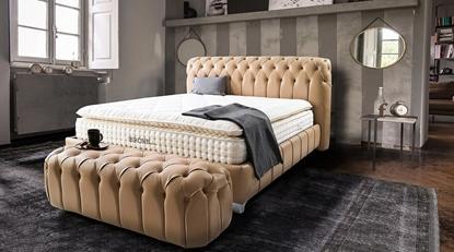 Brown Milton Set (Baza+Başlık+Yatak) resmi